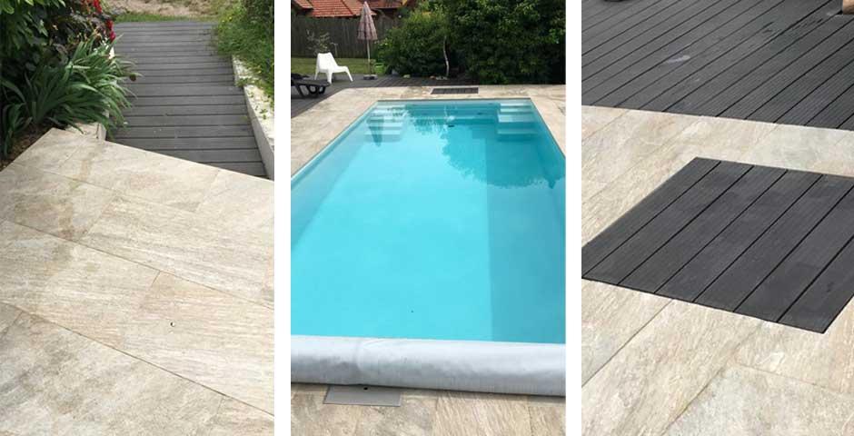 Swimming Pool mit Holzterrasse, Feinsteinzeug